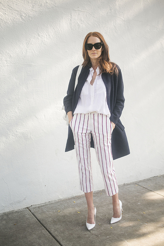 could i have that blogger coat cropped pants striped pants white shirt pants blouse sunglasses jewels shoes bag french girl style