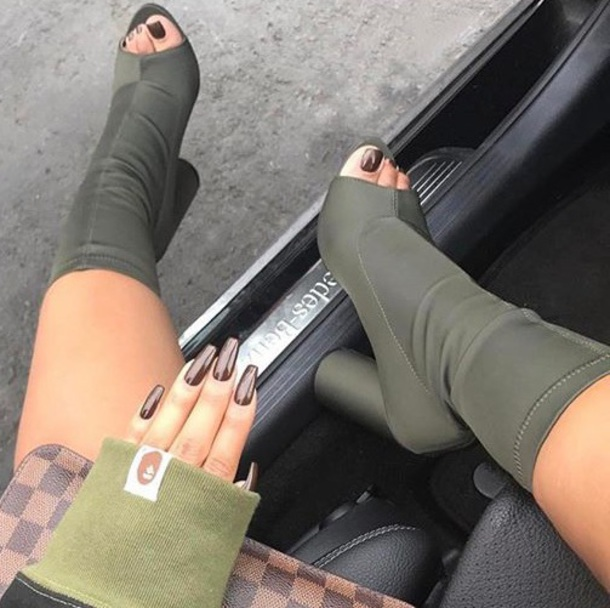 shoes, booties, olive green, peep toe