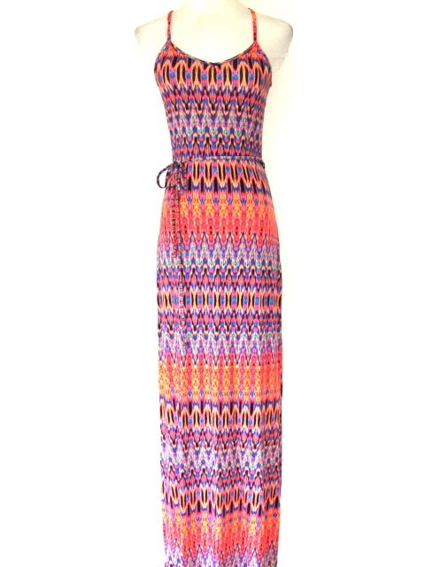 NEW WOMENS ORANGE TRIBAL AZTEC PRINT JERSEY RACER BACK LONG MAXI DRESS SIZE 6-20 | eBay