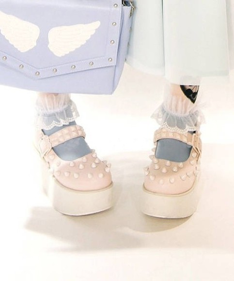 shoes studs spikes pink pastel pastel goth mary jane sea of shoes