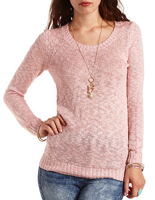 Pointelle back tunic sweater: charlotte russe