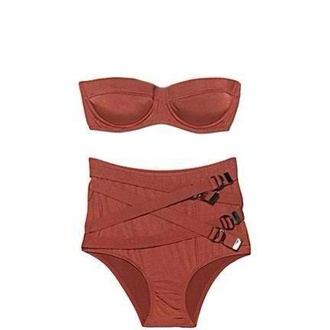 swimwear high waisted bikini brown swimwear