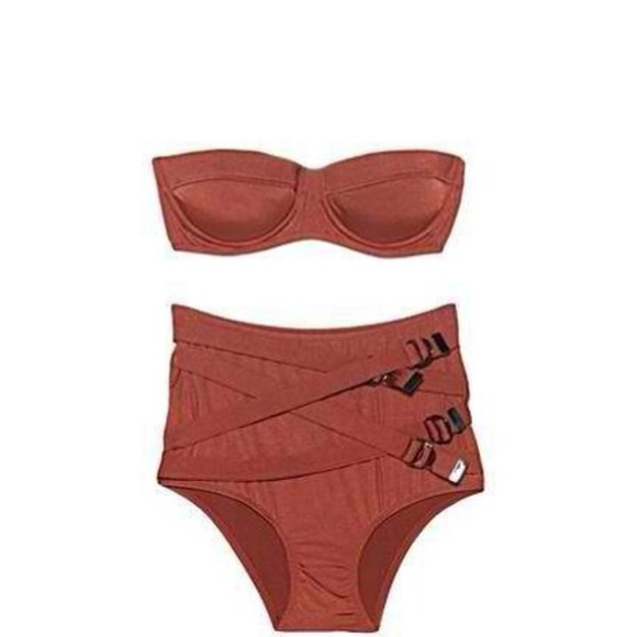 brown swimwear swimwear high waisted bikini