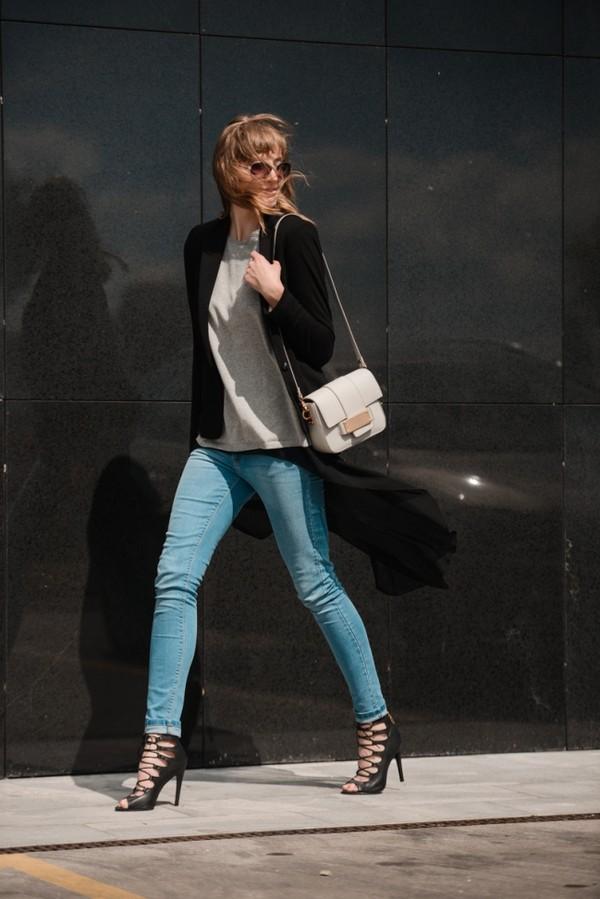 katiquette jeans sweater jacket shoes bag shirt