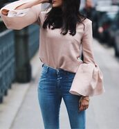top,pink top,bell sleeves,straight jeans,cute top,pastel pink,dusty pink,black bell sleeve top,long sleeves,denim,jeans,blue jeans,t-shirt