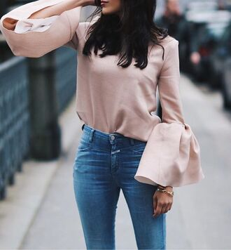 top pink top bell sleeves straight jeans cute top pastel pink dusty pink black bell sleeve top long sleeves denim jeans blue jeans bell sleeve top tumblr