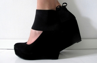 shoes wedges high heels black suede cut-out lace up
