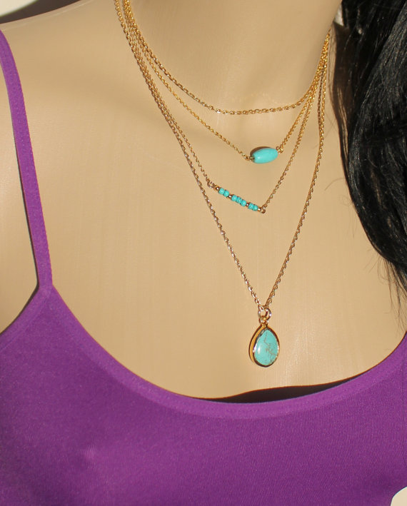 Turquoise set of 3 layering necklace teardrop by hellosprings