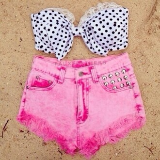 shorts pink acid washed shorts highwastedshorts studded shorts polka dots bikini top black and white lace bikini top summer outfits beachwear