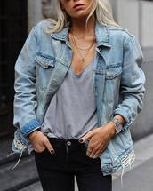 jewels,tumblr,jewelry,silver jewelry,necklace,silver necklace,jacket,denim,denim jacket,t-shirt,grey t-shirt