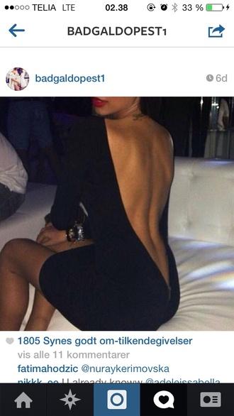 dress little black dress open back deep v dress sexy party dresses
