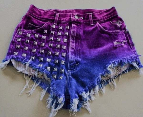 shorts High waisted shorts purple studs studded shorts ombre cute hipster indie tumblr