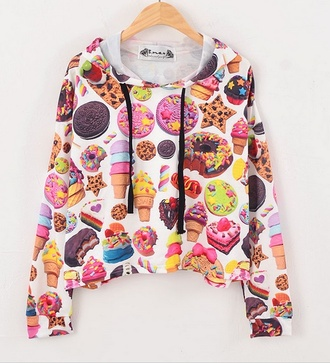 sweater dope fat ass food colorful patterns ice cream oreos donut rainbow white light blue pink mint cookies hungry chocolate hoodie kawaii cake nail polish