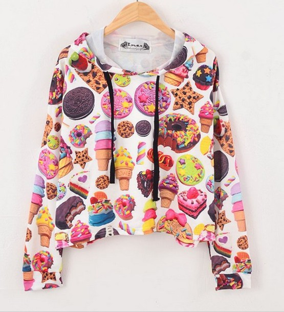 sweater dope fat ass food colorful patterns ice cream oreos donut rainbow white light blue pink mint cookies hungry chocolate hoodie kawaii cake nail polish candy printed sweater shirt donut lolly pop sweets