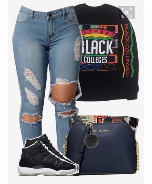 sweater black college