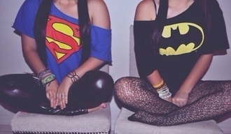 top superman crop tops black blue red yellow