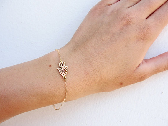 Gold bracelet Gold hamsa bracelet hamsa bracelet by KRcollection
