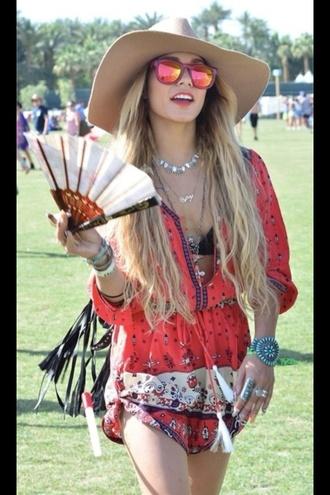 dress red boho vanessa hudgens style cute fashion summer coachella bohemian chic peasant dress hat