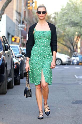 dress spring outfits streetstyle cardigan flats karlie kloss model off-duty midi dress