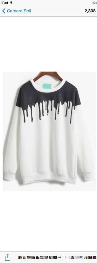 sweater white black jumper drip tumblr dripping