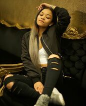 pants,wolftyla,adidas yezzy,bomber jacket,ripped black pants,white top,platnium hair,finessed.,dont do her dirty.,wolfie,Blasian,new york city,waves,on fleek,black,white,grey,vibes,streetstyle,comfy,belly ring,dope,$$$$