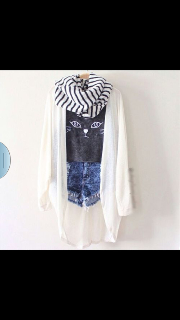 blouse black and white shorts hipster cute shoes shirt scarf