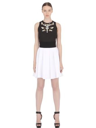 dress pleated embellished white black