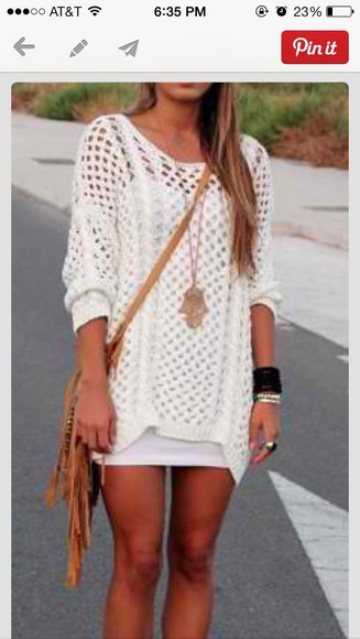 bag jewels sweater white brown bag dress pinterest