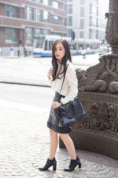 tlnique,blouse,skirt,jewels,bag,shoes,high heels,leather skirt,classy,office outfits,mango,pencil skirt