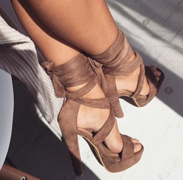 Shoes: brown, tan, heels, summer, leather, lace up, high heels ...