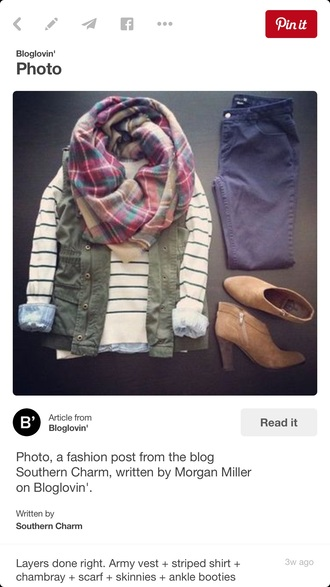 top stripes sweater green vest scarf