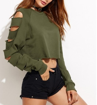 sweater girl girly girly wishlist crop crop tops cropped cropped sweater ripped olive green