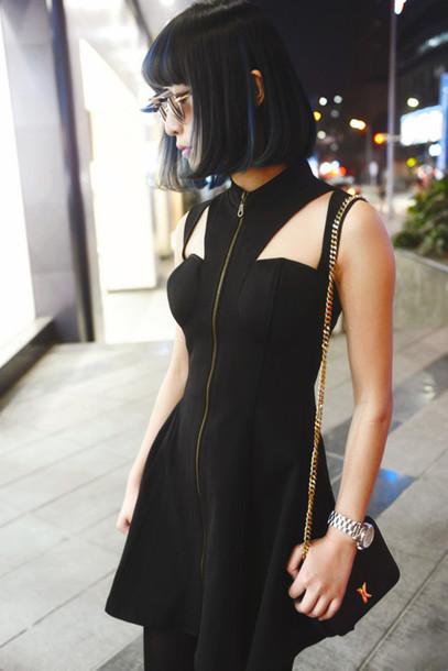 Dress fashion outfit clothes black black dress zip zip tumblr grunge tumblr goth ...