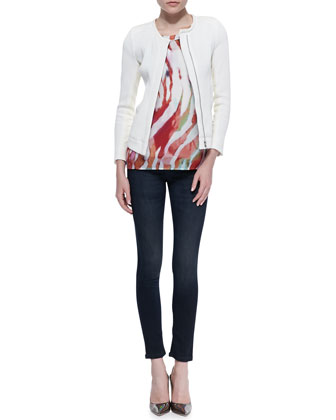 IRO Brock Slim Textured Jacket, Shayla Sheer Printed Tee & Benthal Dark-Wash Skinny Jeans