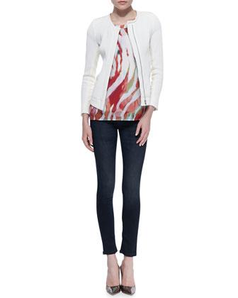 IRO Brock Slim Textured Jacket, Shayla Sheer Printed Tee & Benthal Dark-Wash Skinny Jeans