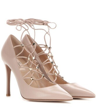 pumps lace leather beige shoes