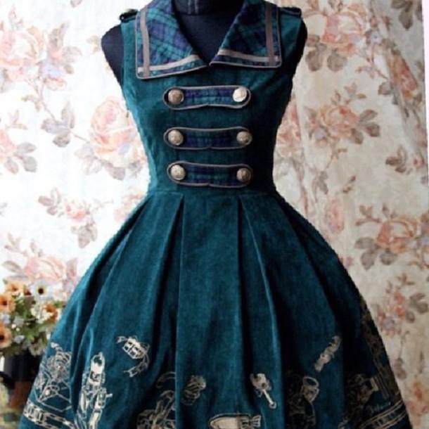 dress denim dress steampunk blue dress green dress steampunk clothing