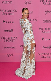 dress,candice swanepoel,white lace dress,victoria's secret,gown