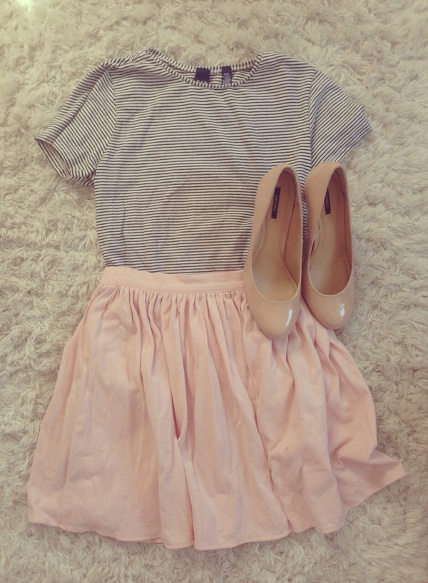 skirt pink skirt blouse shirt striped shirt light flouncy stripped