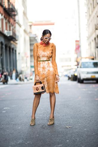 stuffshelikes blogger dress shoes bag jewels sunglasses yellow dress fall outfits handbag