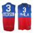 Phila Iverson #3 Blue Red NBA Reebok Jersey White Number