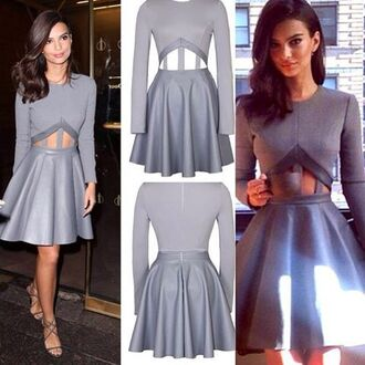 dress grey dress emily ratajkowski cut-out dress flowy dress long sleeve dress cute dress sexy dress party dress special occasion dress