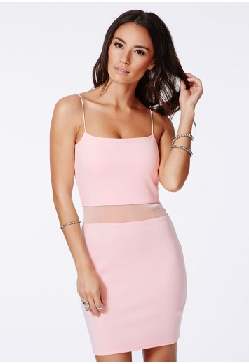 Missguided - Lotye Pink Mesh Panel Bodycon Dress