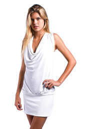 dress,white,sauvage,resort dress,womens sauvage,open back,draped front