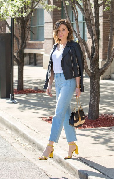 jeans top sandals sophia bush spring outfits jacket biker jacket streetstyle  shoes yellow