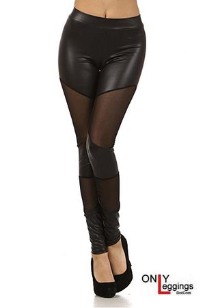 Shadow Mesh Faux Leather Leggings - Leggings Superstore