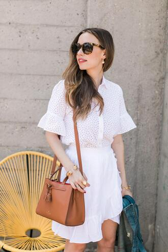 top white top skirt brown bag tumblr eyelet detail eyelet top mini skirt white skirt ruffle bag sunglasses jewels
