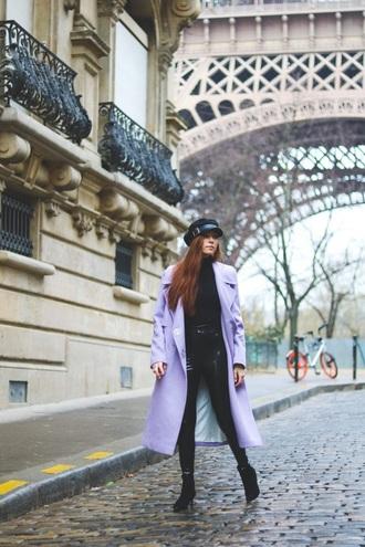 coat lilac lilac coat pants top hat fisherman cap black pants black top