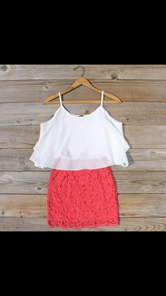 dress pink skirt coral hilo hi-lo high low