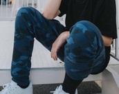 pants,camouflage,blue pants,joggers,menswear,teenagers,joey birlem